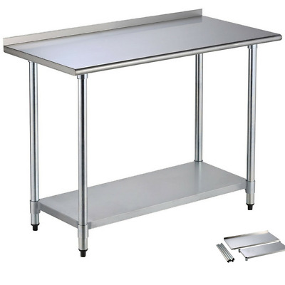 "Stainless Steel Food Prep Table 24"" x 48"" W/Backsplash Commercial Kitchen Work"