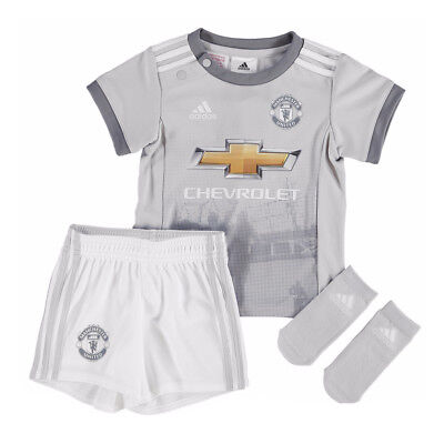 adidas Manchester United 2017/18 Kids Infant Baby Third Kit Grey