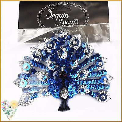 Peacock Sequin Motif in Blue and Silver Colours with Black Bead Detail