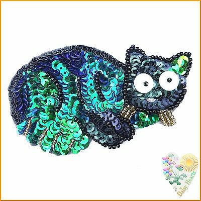 Cat Sequin Motif in Black and Blue / Green Pearlescent Colours