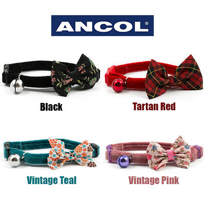 Ancol Luxury Vintage Bow Cat Collar Black Red Tartan Teal Pink Discount for 4