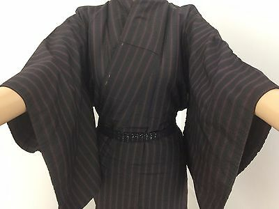 Vintage Japanese black & red silk kimono for women, small, used (E1573)