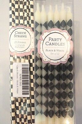 NEW~Mackenzie Childs COURTLY CHECK Party Candles AND PARTY STRAWS BIRTHDAY