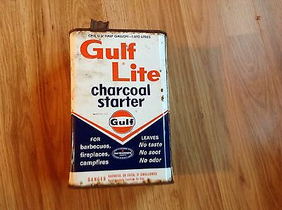 vintage gulf lite Charcoal starter Tin can-empty