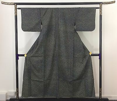 Authentic Japanese green wool kimono for women, M, Japan import , used (E1573)