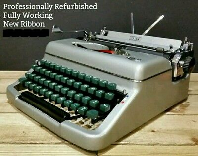 RESTORED & WORKING Royal Diana Vintage 1950s Portable Typewriter & Case Olympia