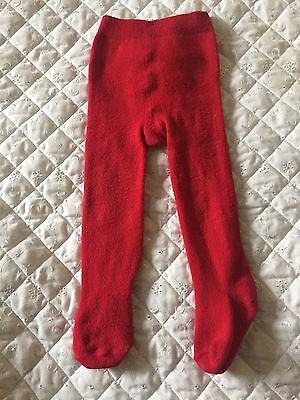 Baby Girls Red Tights. Age 6-12 Months.