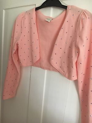 Monsoon Peach Sparkly Bolero Cardigan Age 8