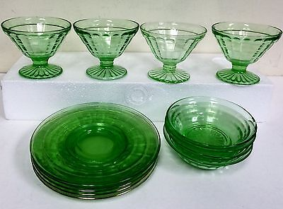 Block Optic Green Depression Glass 4 sherbet,4 bowls,5 plates Anchor Hocking