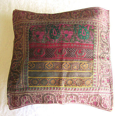 Antique Embroidery, Vintage Embroidered Pillow Case, Gold Embroidery, Unique