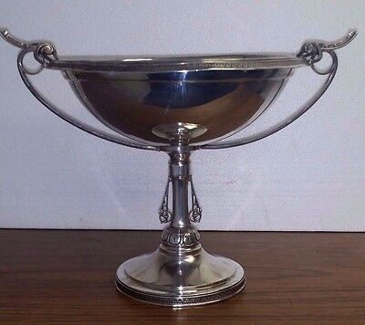"""Antique Sterling Silver Walker & Hall Fancy Deco Compote 12"""" W X 8.25"""" H 8"""" Bowl"""