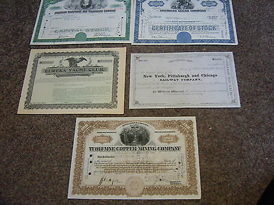 5 Stock Certificates ATT American Sugar, Pittsburgh Railway, Eureka Yacht Copper