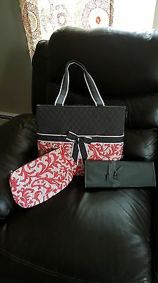 Diaper Bag GreyWhite/Coral Changing Pad Zipper Pouch Multi Pockets