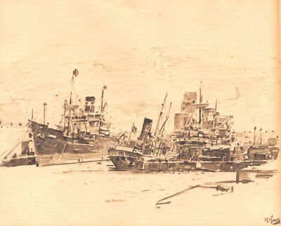 H.E. Moore - Mid 20th Century Pen and Ink Drawing, Ships in a Harbour