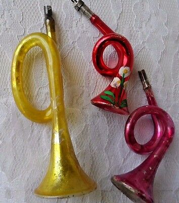 Antique Vintage Victorian Mercury CHRISTMAS Ornaments -  THREE GLASS  HORNS
