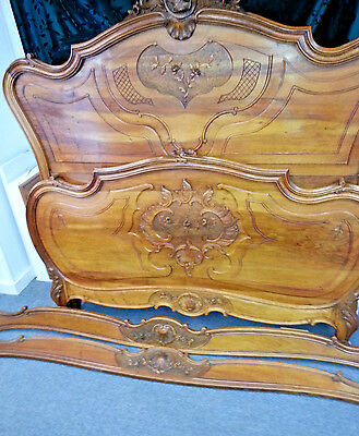 Exquisite French Antique Louis XV Walnut Full/Queen Bed