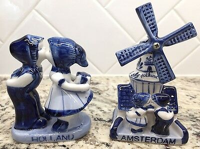 Delft AMSTERDAM WINDMILL & HOLLAND KISSING COUPLE ~ Deco Blue & White Lot
