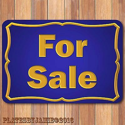 """For Sale Gold on Blue 100% Aluminum Sign 8"""" x 12"""" New"""