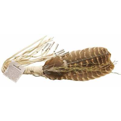 Native American Indian White Medicine Feather Fan With Sweetgrass 13""
