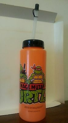 Vintage Teenage Mutant Ninja Turtles Orange Plastic Water Bottle Retro 1980s