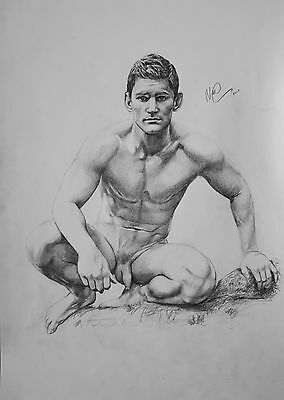 CLASSIC MALE NUDE 2. Gay interest DRAWING.RCA artist. muscle A3 size. by Neil