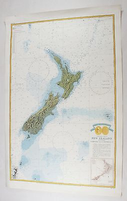 Vintage Original Commemorative Chart of New Zealand Norfolk Cambell 1969 11C Map