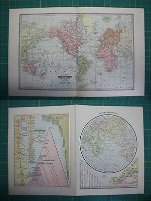 Chart of the World Vintage Original 1885 Cram's World Atlas Map Lot