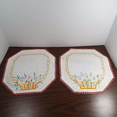Vintage Hand Embroidered Set - 2 Doilies and a Table Runner