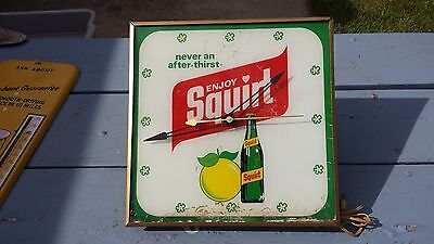 Rare 1960's 1970's Enjoy Squirt Soda Pop Lighted Clock Sign Light Working Pam ?