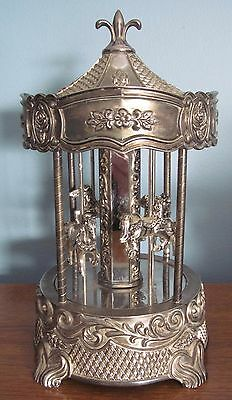 Wallace Silversmiths Carousel Silver Plated Wind Up Music Box 4 Horses