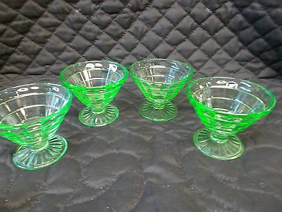 Anchor Hocking Set of 4 Block Optic Uranium Green Footed Sherbets