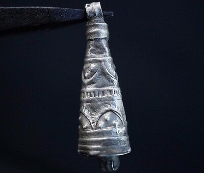 Ancient Viking Silver Amulet Pendant. Decorated Norse Relic, circa 950-1000 AD.