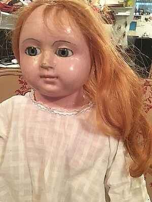 antique cloth doll HUGE mache head GIANT MAD ALICE? AS IS DAMAGED BEAUTIFUL!