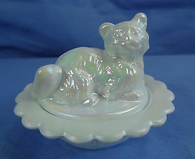 Cat on Nest Salt Dip Milk Carnival Glass Kitty on Nest Kitten Salt