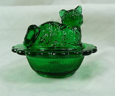 Cat on Nest Salt Dip Hunter Green Glass Kitty on Nest Kitten Salt