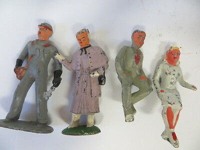 2 Barclay Figures Oiler And Lady And 2 Manoil Figures Man And Lady For A Bench
