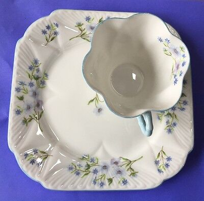 "Shelley ""Blue Rock - 13591"" Cup and Sandwich Plate Set"