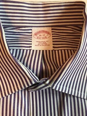 Brooks Brothers Mens Purple White Striped Non-Iron Dress Shirt Cotton Size 16-32