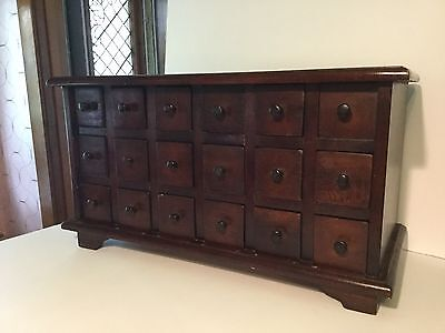 Vintage 18 Drawer Apothecary Cabinet Wood Storage Spice Chest Tool Organizer Box