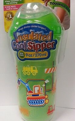 Nuby 9 oz No-Spill Insulated Cool Sipper, Green