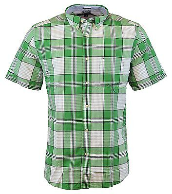 NEW Tommy Hilfiger Men's Short Sleeve Classic Fit Button-Down Shirt AMAZON GREEN