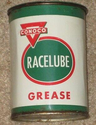 Conoco Racelube Grease Tin Can Vintage Gas. Oil. Racing