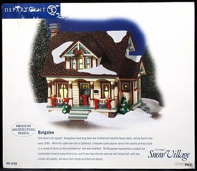 Department 56 Snow Village Bungalow House American Architecture Series 55304 New