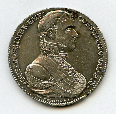 Mexico 1822 Proclamation 8 Reales Augustin Iturbide, Mint Luster+Toned Nice Au.