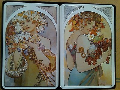 "Steinlen Posters On Double Deck Of Playing Cards - Signed ""mucha"""