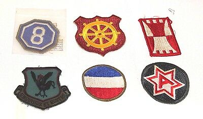 RARE Antique Vintage HTF Lot Of 6 WWII Patches! 8th Corps,6th Army,& Tons More!
