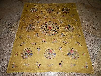Large Antique Chinese Silk Hand Embroidered Textile Art Wall Hanging Panel