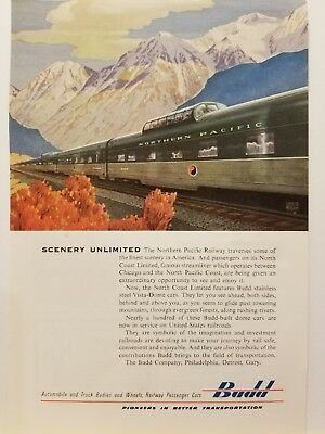 "1954 Budd Northern Pacific Railway Vintage Print Ad ""Scenery Unlimited"""