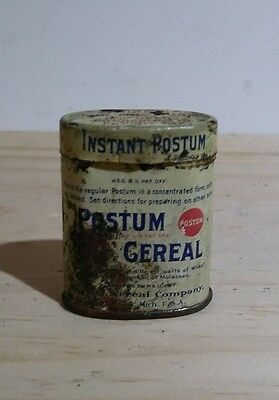 VINTAGE Instant Postum Cereal Tin Can Free Sample Michigan US