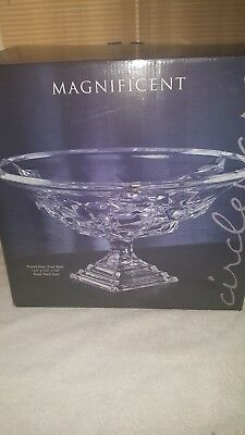 magnificent footed glass fruit bowl